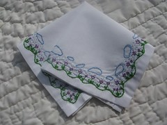 tulips in the rain hankie (TheGirlintheLane) Tags: blue wedding white flower green floral rain spring purple needlework handmade embroidery sewing small violet sew textile fabric tulip etsy handkerchief fiber stitched embroidered sewn needlecraft hankie