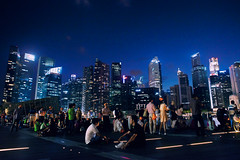 Sunday Nights (Explored) (OzGFK) Tags: street city people night bay singapore asia explore cbd nikkor mbs marinabay explored marinabaysands nikond800 marinabaysg