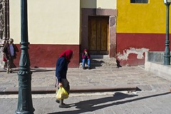 color coordinated.. (camelot98.) Tags: street leica city travel blue light shadow red people urban color lines yellow contrast mexico candid streetphotography sunny scene