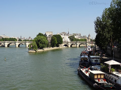 River Seine, boats and Ile de la Cite