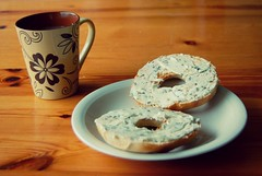 Day 47: Monday Morning (ka-chess-ka) Tags: food breakfast tea bagels day47 day47365 365the2015edition 3652015 16feb15