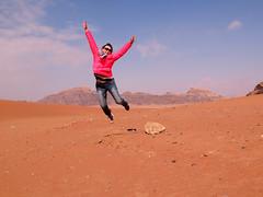 I believe I can fly! (Dragon Weaver) Tags: jump tanya desert jan jordan rum wadi 2015 0116