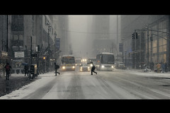 Last minute scurry (melfolio (midnight_and_venus)) Tags: street nyc snow photography evening commute rushhour cinematic blizzard 2015