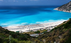 Myrtos beach (Beaust) Tags: ocean road blue sea summer vacation sky sun white mountain beach water rock stone forest landscape island coast seaside sand scenery turquoise horizon wave greece shore limestone marble seashore ioniansea cephalonia myrtos longshoredrift kefallinia