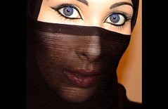 The Veil - 02 (Aozma Qureshi) Tags: woman love face scarf happy freedom eyes women peace veil muslim religion makeup mysterious faceless recognition protection powerful annoyed quran mysteriouswoman wayoflife headcovering covering muslimwoman harassment muslimwomen recognise 3359 facecovering preventionofharassment chaper33verse59