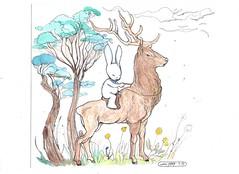 cerf und rabbitchoo (mc1984) Tags: tree rabbit ink drawing aquarelle cerf 2015 mc1984