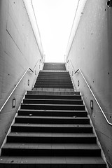 To the sky (Julien.Belli) Tags: street camera city light sky urban blackandwhite bw white streetart black art monochrome wall stairs concrete photography grey schweiz switzerland photo blackwhite construction iron stair alone photographie suisse swiss steel steps streetphotography photographic minimal lausanne step tiles handrail highkey rise svizzera simple amateur ricoh compact vaud photographe inox romandie chuv highligh ricohgrd photographen ricohgrd3 ricohgrdigitaliii ricohgrdiii ricohgrdigital3