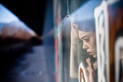 (Stefano☆Majno) Tags: portrait color reflection abandoned window canon photography graffiti hands perspective posing sensual warehouse shooting weeping giulia secretplace outfocused majno setfano