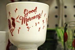 Rooster Curse (Wires In The Walls) Tags: cup motif breakfast ceramic design graphic rooster goodmorning exclamation
