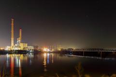 Night HDR - Electric Power Plant (Francesco CescoP Pradella) Tags: bridge church night river lights po powerplant hdr ostiglia