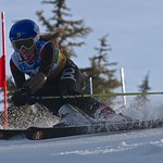 Maja Woolley (WMSC) taking first place in Whistler Teck U14 GS PHOTO CREDIT: Hans Forssander