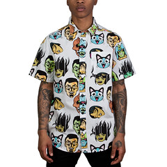 """Sugoi"" Short Sleeve Button Up (DST TO INFINITY) Tags: street nyc white anime simon up brooklyn cat death robot spring colorful infinity watch down tattoos wear coco eyeball button keep dane dope screaming delectable thompson pedigree streetwear mishka adders dst sugoi pintrest vkdjsn"