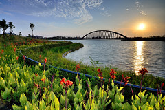 Southern branch of the National Palace Meseum  (Vincent_Ting) Tags: bridge flowers sunset sky sunlight lake reflection water architecture clouds gorgeous taiwan   chiayi  cloudscape  meseum    nationalpalacemuseum       vincentting    southernbranchthenationalpalacemeseum