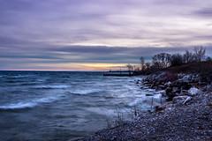 Windy Lakeshore (Jaggy89) Tags: sunset lake ontario canada nature water beautiful clouds rocks waves horizon windy lakeshore lakeontario mississauga explorecanada
