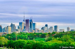 Toronto Skyline, Downtown with Cn Tower in the spring (Junior Braz Gallery) Tags: park city travel sky urban toronto ontario canada reflection building tower sport skyline architecture modern america skyscraper cn spectacular landscape outside corporate office spring scenery downtown cityscape view vibrant district famous north scenic nobody landmark tourist canadian east business destination metropolis tall picturesque financial far condominium attraction stylish riverdale