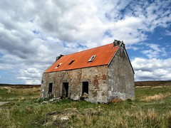 Abandoned Highland Cottage - Scotland (Flyingpast) Tags: uk blue wild sky cloud house building abandoned home weather architecture rural landscape scotland spring highlands outdoor cottage rusty dramatic scottish property sunny glen croft weathered remote moor desolate derelict visitscotland wb2000 tl350 cllearances