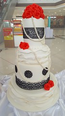black lace wedding cake (Divine Cakes Iloilo) Tags: wedding red roses black cakes cake dc cafe lace divine iloilo roxas fondant bakeshop