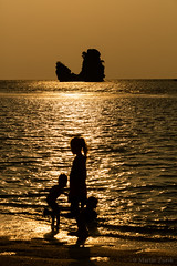 Golden Beach (Martin Zurek) Tags: ocean life travel vacation portrait people playing reflection beach water beautiful rock canon children fun island golden coast sand mood quiet child play silhouettes happiness calm malaysia langkawi goldenhour kedah my canon5dsr 5dsr