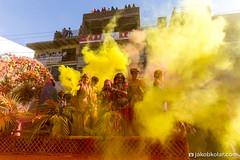 Yellow Explosion (Jakob Kolar) Tags: street travel india water colors yellow festival happy asia colours religion powder celebration dust hindu indien colorfestival mathura holifestival uttarpradesh festivalofcolours