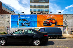 Chevy (Always Hand Paint) Tags: auto blue orange cars advertising mural colorful outdoor pop chevy final ooh handpaint colossal complete streetlevel chevypop colossalmedia b198 muraladvertising skyhighmurals alwayshandpaint kristamlindahl chevyfinal