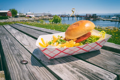 Burger by the pier (EricReed) Tags: food pier maine hamburger atlanticocean vacationland foodtruck rocklandmaine classicamerican microfourthirds lumixdmcgm5 wichplease