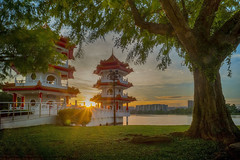 Sunset (ystan) Tags: sunset sun west weather garden star pagoda chinese twin burst jurong hdr