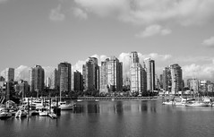 Vancouver Skyline Black and White (rabidscottsman) Tags: travel canada vancouver skyscraper buildings wednesday nikon bc britishcolumbia condo falsecreek dslr tamron internationaltravel 18270 d7100 scotthendersonphotography tamron18270 nikond7100