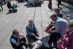 G22_0227 (bandashing) Tags: street friends light shadow summer england bus sunshine bench manchester chat market talk stall bluesky clocktower hyde shade sit townhall civicsquare northern sylhet bangladesh sunnyday socialdocumentary flatcap aoa tameside bandashing akhtarowaisahmed