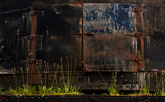 Invitation (Junkstock) Tags: door old abandoned industry oregon photography photo rust iron rivets industrial doors exterior photos decay rusty photographs photograph rusted weathered aged distressed corrosion decayed patina corroded relic oldstuff camp18
