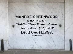 Monroe Greenwood, 1896 (Stewf) Tags: cemetery g gravestone lettering sans 1890s mountainviewcemetery backslant