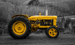 Jump Start Only (Al Stewart Photography) Tags: tractor yellow whitecliffs selectivecolour