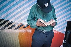 Hell's Kitchen _R011302 (keithbgoldstein) Tags: street newyorkcity color reading book manhattan streetphotography streetlife hellskitchen streetcandid everybodystreet