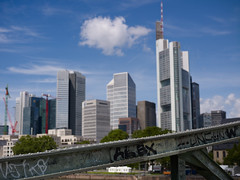 Skyline (tommy1905195) Tags: bridge tower skyline clouds river germany am frankfurt main graffity beam highrise commerzbank steg eiserner