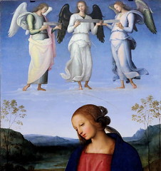 IMG_0667 Pietro Perugino. 1459-1523. Florence. The Virgin and Child with an Angel, the Archangel Raphael with Tobias and the Archangel Michael. vers 1500.   Londres National Gallery. (jean louis mazieres) Tags: london museum painting unitedkingdom muse nationalgallery londres museo peintures peintres perugino leperugin pietrovanucci
