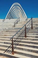 steps to the agora (dan.boss) Tags: stairs bluesky athens greece calatrava olympia banister olympicpark agora santiagocalatrava