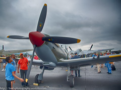 Spitfire_56185h (gpferd) Tags: people clouds airplane photography reading us unitedstates pennsylvania mosquito vehicle hdr highdynamicrange commando supermarinespitfire vintageairplane curtissc46 dehavillanddh98