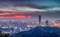 Red Sky  (Sharleen Chao) Tags: sunset urban panorama color building skyline architecture night canon landscape cityscape pano horizon taiwan nopeople 101  taipei taipei101      skyscaper 70200mm partlycloudy highangle  capitalcity    5dmarkiii firingclouds