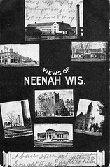 P-5-D-009 (neenahhistoricalsociety) Tags: downtown cityhall library clocktower postcards waterworks presbyterianchurch kimberlyclark dotycabin neenahmill