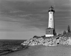 Crisp Point Lighthouse 4x5 (Bronica John) Tags: blackandwhite bw lighthouse white lake black film speed self point rocks graphic large superior upper crisp format upperpeninsula peninsula developed lakesuperior largeformat graflex selfdeveloped pacemaker crisppoint ilfordhp5400 lakesuperiorlighthouse largeformatfilm lakesuperiorlighthouses film:iso=400 kodakxtol crisppointlighthouse film:brand=ilford film:name=ilfordhp5400 developer:brand=kodak developer:name=kodakxtol filmdev:recipe=10837