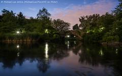 Pond and Gapstow Bridge (DSC01605) (Michael.Lee.Pics.NYC) Tags: longexposure newyork reflection night pond centralpark sony gapstowbridge a7rm2 zeissloxia21mmf28