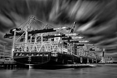 CT Eurogate Hamburg Long Exposure (T.Seifer) Tags: longexposure sky blackandwhite bw clouds mono blackwhite nikon harbour hamburg wolken le nikkor whiteandblack whiteblack ndfilter schwarzweis