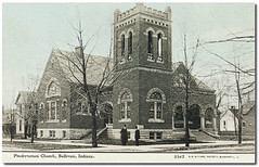 First Presbyterian Church, Sullivan, Indiana (Hoosier Recollections) Tags: houses people usa man color men history churches indiana streetscene porch pedestrians sullivan residential sullivancounty hoosierrecollections