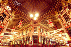 Leadenhall Market (Paki Nuttah) Tags: city uk england london night europe long exposure market flag union gb british leadenhall