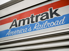 Amtrak America's Railroad (Night Owl City) Tags: california usa amtrak font fullerton houseindustries baggagecar fullertonrailroaddays exhibittrain signpainterscript