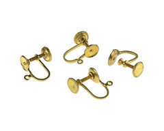 02260-002A-Vintage-Brass-Ear-Screw-Drop-Ring (Big Bead Little Bead) Tags: earring findings vintageearringfindings