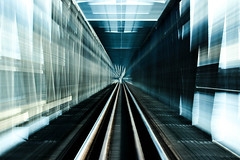 Abstraction (necow.) Tags: abstract motion blur lines metal train way grey track zoom steel gray perspective tracks rail railway line abstraction parallel abstracted