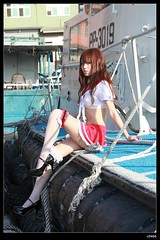nEO_IMG__MG_3028 (c0466art) Tags: school light red portrait fish girl beautiful female port canon boat big eyes uniform asia long afternoon legs little outdoor sunday skirt short attractive sail 5d cloth charming keelung  c0466art