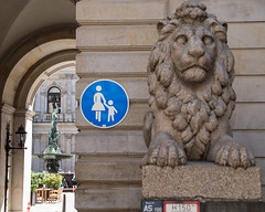 Now Entering Narnia? (Peter E. Lee) Tags: summer sculpture sign stone architecture germany de deutschland europe cityhall hamburg lion courtyard townhall hh layers archway rathaus depth 2013