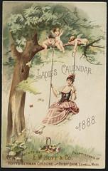Ladies Calendar 1888 [front] (Boston Public Library) Tags: trees women swings angels perfumes advertisingcards
