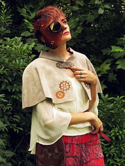 Steampunk outfit (Wayward Leather Design) Tags: urban leather bag keys design wings mask fine line cape cogs brass gears embroidered mantle suede threads capelet steampunk cowl
